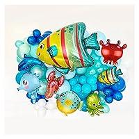 SHUOGUO 129ピース海のテーマ風船キット漫画のサメ/魚の下で海の動物のボール子供の誕生日プレゼント DIY.パーティーデコレーションホームサプライ パーティーDIYデコレーション (Color : Sea balloon set)