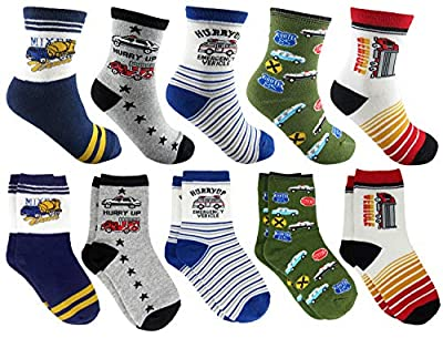 Tiny Captain Boy Socks Dinosaur Kids 4-7 Year Old & 7-10 Yr Old Cotton Crew Gift Dino Car Socks Ages 4-10 2 Sizes (4-7 Year Old, Red, White)