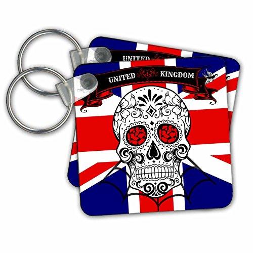 3drose Sugar Skull, vlag van Engeland, zwart, witte sleutelkettingen, 5,7 x 5,7 cm set 2 stuks (KC 215170 1)