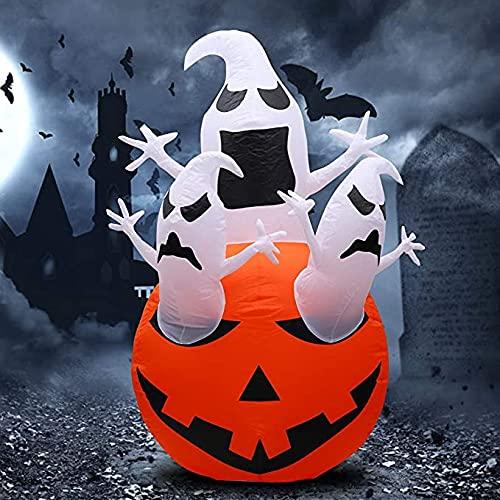 Yidenguk - Inflables de Halloween, decoración de calabaza con luces LED gigantes, para exteriores, decoración de vacaciones, para patio, jardín, césped, fiesta, decoración