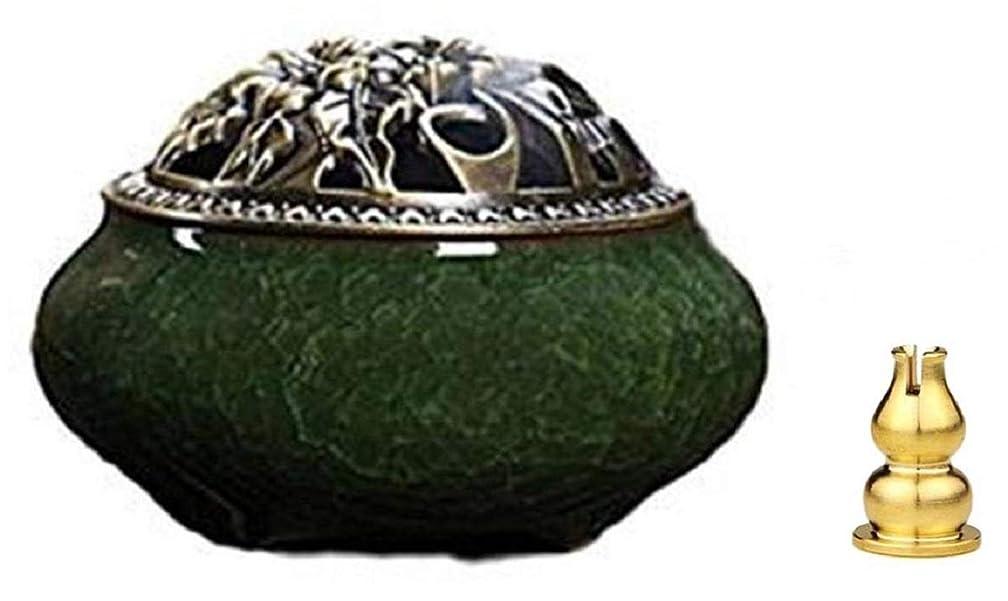 リスキーな醸造所エントリ陶磁器 香炉 青磁 丸香炉 お香立て 渦巻き線香 アロマ などに 香立て付き (緑色)