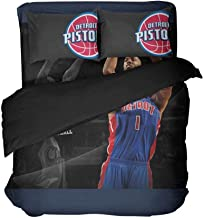 Magaport 4PCS Queen Men's Detroit Bed Set Basketball Player Number 6 Bedspread Sets Teens Boys Bedding Blue Duvet Covers