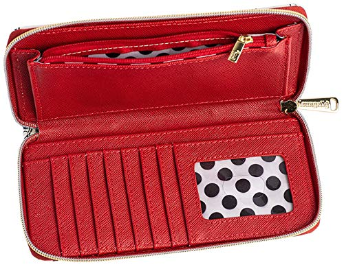 Loungefly Disney Mickey & Minnie Mouse Wallet Zip Around Clutch Faux Leather