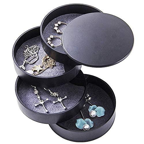 Caja organizadora de joyas giratoria de 4 capas de 360 ° para mujer, caja de joyería negra para joyas, pequeña joyería giratoria de viaje..