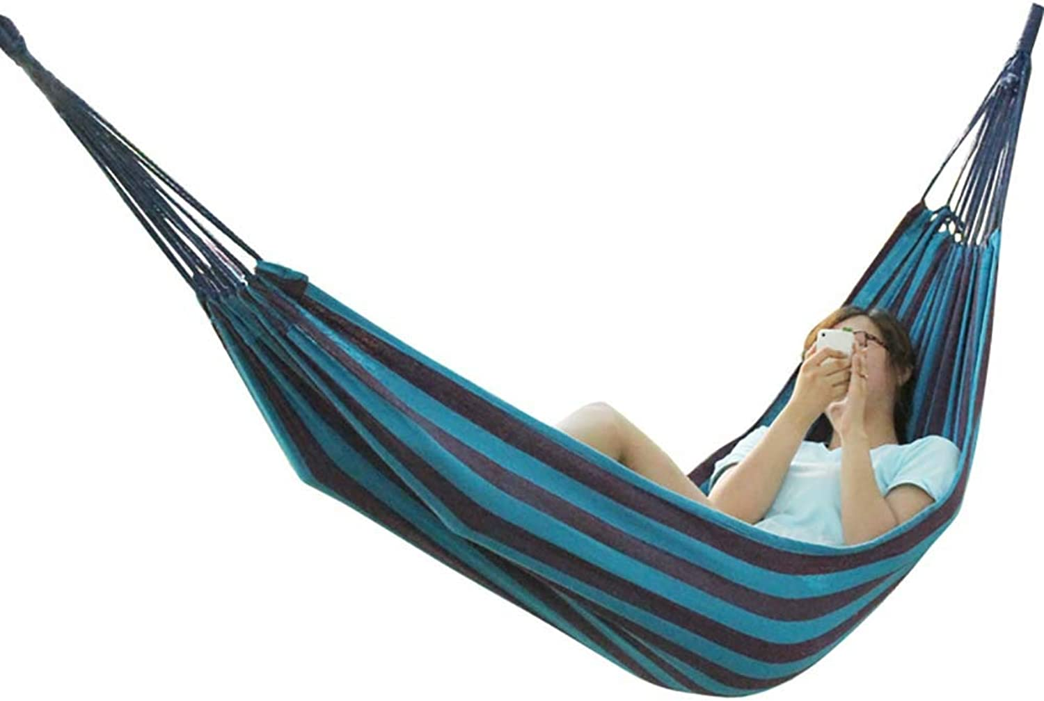 Outdoor Camping Hammock, HandWoven Cotton Rope Canvas Breathable Single Hammock, Load Capacity 150kg, Lounge Chair, Beach, Garden, Backpack Travel, 200  100cm