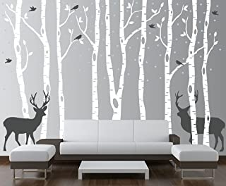 Innovative Stencils Birch Tree Wall Decal Forest with Snow Birds and Deer Vinyl Sticker Removable (9 Trees) #1161 (White Trees - Dark Gray Animals, 96