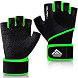 HTZPLOO Workout Gloves Gym Gloves Weight Lifting Gloves for Men with Full Palm Pad ,Strong Wrist Wraps Support,Enhanced Grip,for Fitness,Training,Weightlifting,Exercise (Green,Medium)