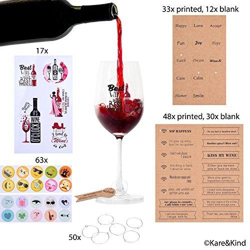 Emoji Weinglas Anhänger (63x) Gedruckte & beschreibbare Etiketten (123x) Kreis Clips (50x) und wiederverwendbare Weinglas Aufkleber mit lustigen Texten (17x) - Weingläser - für Dinnerparty