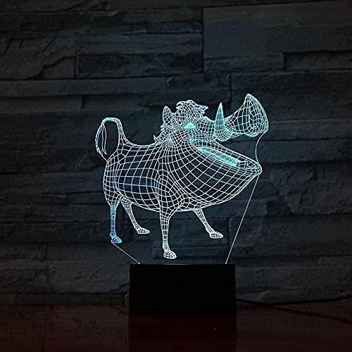 ZSBoBo Lámpara LED 3D Illusion NACHTLICHT TISCHLAMPE SCHLAFZIMMER Pumphzimmer Sensor de decoración Junge Geschenk Dibujos Animados de decoración Der König Der Löwen