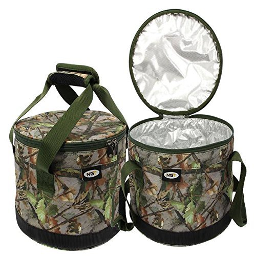 NGT Carp Fishing Camo Insulated Bait Bin with handles and Zip Top