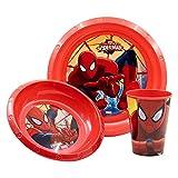Kinder Geschirr 3er Set Teller Schale Becher Tasse Schüssel Paw Patrol Frozen Spiderman Mickey & Minnie Maus Avengers Minions Cars Peppa Wutz (Spiderman)