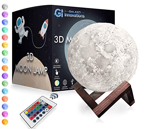 Galaxo 3D Moon Lamp (5.9 inch) with Dark Wooden Stand, 16 LED Colors, Adjustable Brightness, Touch Control, Remote, USB Charging & Gift Box - Modern Lunar Night Light, Creative Gift Idea