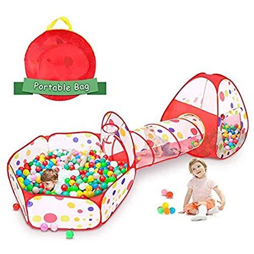 3 in 1 Play Kruiptunneltentspel voor kinderen, voor kinderen Buiten/binnen met kinderen Tent + Tunnelspel + ballenbad (gekleurde bal niet inbegrepen)