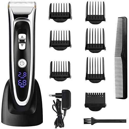 TOYS Schnurloser Haarschneider, Haarschneidemaschine Für Männer, Titan-Blade-USB-Ladekabel Mit LCD-Display 6 Grenzkämme Feineinstellung Nass/Trocken
