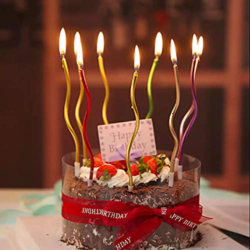 12 Pieces Twisty Birthday Candles Spiral Cake Candles with Holders Metallic Cake Cupcake Candles Long Thin Curly Coil Cake Candles for Birthday, Wedding Party and Cake Decoration (Multi Color) (12)