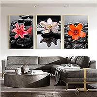 装飾品3個50x70cmフレームレス抽象モダンフラワーブラックポスター蘭の花禅石絵画壁アートプリント画像家の装飾