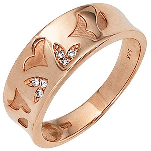 JOBO Damen-Ring aus 585 Rosegold mit 6 Diamanten Größe 58