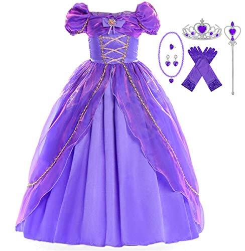 EMIN Kinder Mädchen Prinzessin Rapunzel Kleid Tutu Kostüm Verkleidung Geburtstag Party Ankleiden Karneval Faschingskostüm Halloween Hochzeit Festkleid Blumenmädchenkleid Abendkleid Maxikleid Lila