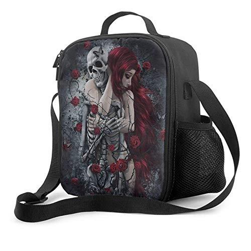 Auslaufsichere Einkaufstasche für die Einkaufstasche, gotische rothaarige Frau mit Schädelskelett und roten Rosen Unisex Weit geöffnete Einkaufstasche Lunchbox Kühltaschen für Büro/Schule/Picknic