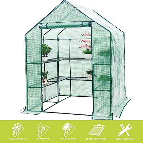 Invernadero Compacto de plástico PE con 6 estantes y cubierta reforzada