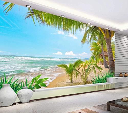 Fotobehang Strand Coco 3D wandbehang wandschilderij vlies woonkamer slaapkamer TV wanddecoratie 140CMx100CM