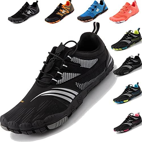 JACKSHIBO Barfussschuhe Herren Barfußschuhe Damen Minimalistische Traillaufschuhe Leicht rutschfest Laufschuhe Zehenschuhe Atmungsaktiv Fitnessschuhe Indoor & Outdoor (Schwarz,43EU)