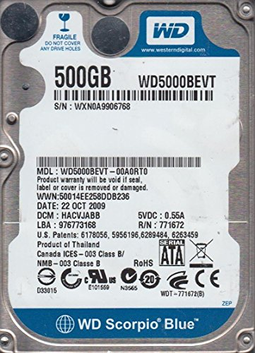 WD5000BEVT-00A0RT0, DCM HACVJABB, Western Digital 500GB SATA 2.5 Festplatte