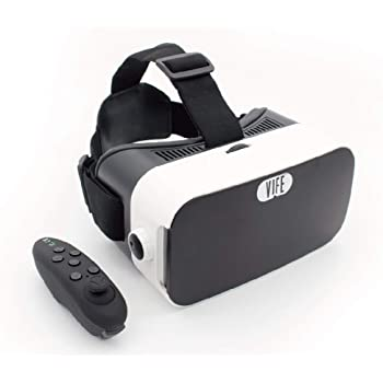 VIFE, Virtual Reality Headset,3D VR Glasses for Mobile Games and Video & Movies,with Bluetooth Remote Controller,Compatible 3.5-6 inch iPhone/Android Phone (White/Black Remote)