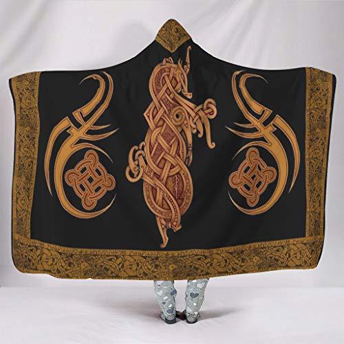 Zhenxinganghu Thermisch verschillende patronen capuchon deken wikkelen voor huis in een koude omgeving casual stijl