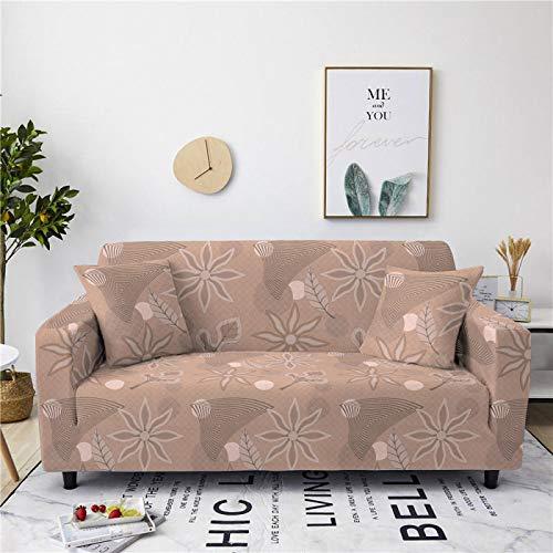 Funda universal para sofá de elastano, elástica, diseño floral, color marrón y marrón