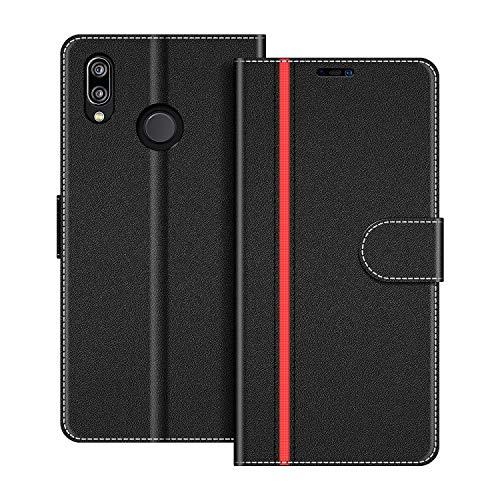 COODIO Handyhülle für Huawei P20 Lite Handy Hülle, Huawei P20 Lite Hülle Leder Handytasche für Huawei P20 Lite Klapphülle Tasche, Schwarz/Rot