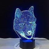 Luz de la noche Ilusión Óptica 3D Llevó La Lámpara De Luz De La Noche Luz Lobo Tipo Amazing 3D LED Husky Perro Del LED Luces De La Noche Con 7 Colores Grupo Mágico (Color : Multi-colored)
