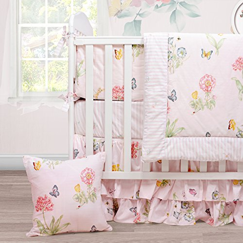 Brandream Floral Crib Bedding with Butterfly Cute Baby Bedding Girl- Extra Soft Warm Breathable, Pink 3 Pieces Crib Bedding Set
