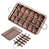ZhuLinFeng Brownie Pan - Molde para 18 magdalenas (acero inoxidable, 31 x 20 x 4,9 cm, 0,7 mm de grosor)