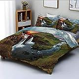 Juego de funda nórdica, paisaje de cascada en Islandia, puesta de sol, monta?a, área volcánica, tema de belleza natural, juego de cama decorativo de 3 piezas con 2 fundas de almohada, multicolor, el m
