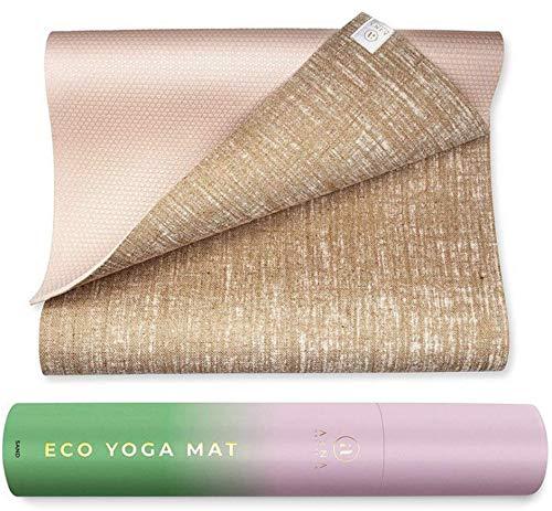 Ajna Organic Yoga Mat - Natural Jute Yoga Mats - Large Non Slip Eco Friendly Yoga Mats with Carrying Strap - Reversible Jute PER - Extra Long Yoga Mat 72 Inch - 5mm - All Types of Yoga - Vegan