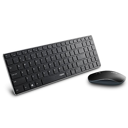 Rapoo Wireless Slim Keyboard and Mouse Combo, Ultra-Thin Lightweight, Comfortable Silent Keyboards, 2.4G 1000 DPI Smooth Portable Mouse, Suitable for Office, School, Business, Travel, Black
