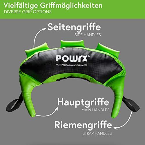 POWRX Bulgarien Gewichts Bag I 5 kg 8 kg 12 kg 17 kg 22 kg I Kunstleder Sandsack für Functional Fitness (12 kg Schwarz/Hellgrün) - 4