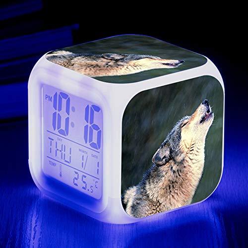 HUA-Alarm clock Niedliche Tier Wolf Bunte Quad Wecker Kreative Kleine Wecker Student Kinder Wecker Geschenke 8X8X8cm/ 14.