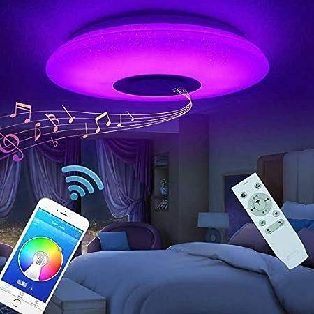 Plafonnier LED Lampes De Plafond 60w Avec Haut Parleur Bluetooth Télécommande APP Lampe Musicale, Couleur Luminosité Réglable (Abat-jour étoilé)