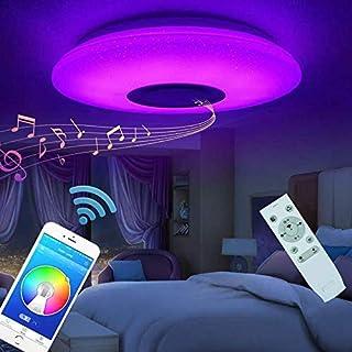 comprar comparacion Plafón Lampara De Techo Altavoz Bluetooth 60w Led Luz De Techo Música Lámpara Colores Modernas Control Remoto APP Para Dor...