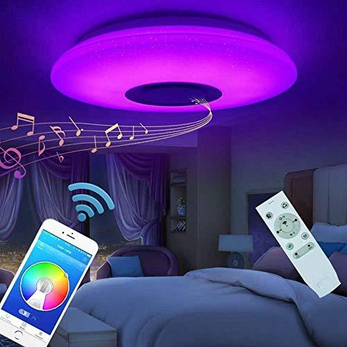 Plafón Lampara De Techo Altavoz Bluetooth 60w Led Luz De Techo Música Lámpara Colores Modernas Control Remoto APP Para Dormitorio Sala Cocina Comedor