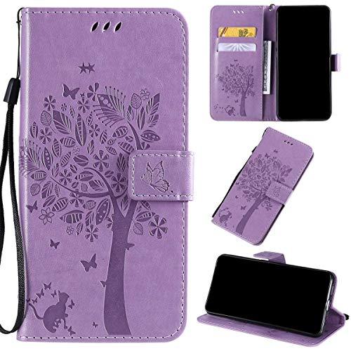 Kihying Pelle Case per Xiaomi Redmi Note 9/Redmi 10X 4G Cover Custodia Portafoglio a Fogli mobili Staffa e Slot per schede (Viola Chiaro - KHT03)