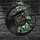fdgdfgd De Pared del Disco de Vinilo de la luz de la Cabeza de Caballo del Reloj del diseño del Reloj con la Fauna del LED   Regalo Hecho a Mano conmemorativo de cumpleaños