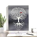 10 Year Anniversary, Tree With Roots, Minimalist Design, Gift for Couple, Tin Gift, Carved Initials, Aluminum Gift Custom Art on Paper, Canvas or Metal #1210