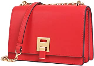 Fashion New Retro Casual Fashion Bills Shoulder Slung Small Handbag Female Cowhide Bag (Color : Red)