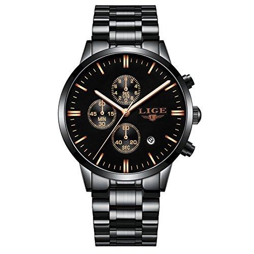 Herenhorloges LIGE roestvrijstalen waterdichte chronograaf Sport analoog quartz horloge Heren zwarte wijzerplaat Fashion casual polshorloge