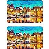 Vnurnrn Amsterdam Canal Houses Pintura Paisaje Imán Lavavajillas Refrigerador Placa Magnética Placa Decorativa Señal para Cocina Oficina Lavadora Platos Indicador 2 Piezas