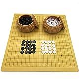Gobus Go Schachspiel Set Leder Schachbrett mit Plastiksteinen in Nachahmung Stroh Dosen Reise Spiele für Go Chess Spieler (18,9 x 19,3 Zoll) -
