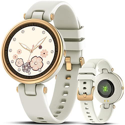 AWSENS reloj inteligente mujer,reloj deportivo mujer a prueba de agua IP67, con ciclo femenino y monitor de sueño y calorías, monitor de frecuencia cardíaca, para Android iOS (blanco lechoso)